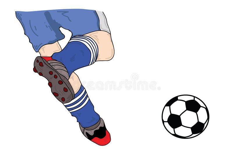 De vector de voetballers lopende voetbal van de illustratiespeler en schopt de bal royalty-vrije illustratie