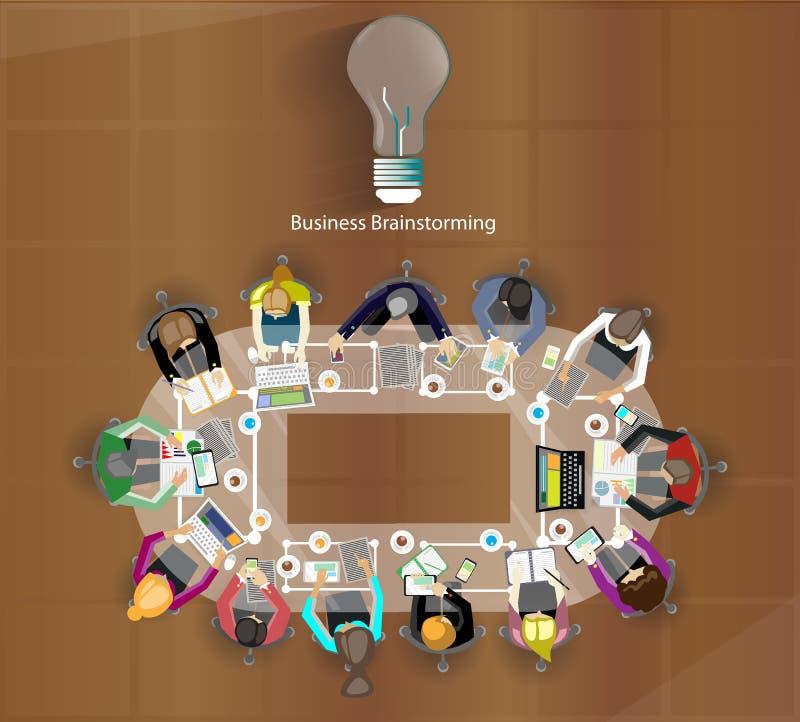 De vector de zakenman komt aan uitwisseling van ideeën samen vector illustratie