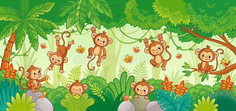 De vector die met aap in divers wordt geplaatst stelt op wildernisachtergrond royalty-vrije illustratie