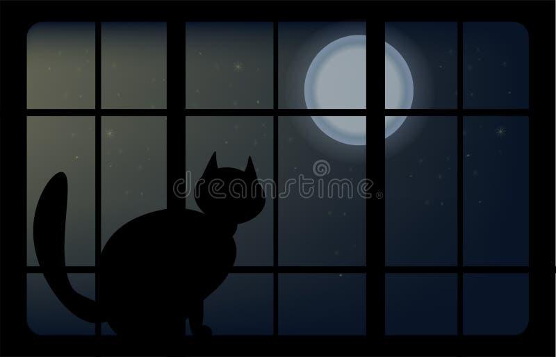De vector dierlijke kat zit op het venster stock foto