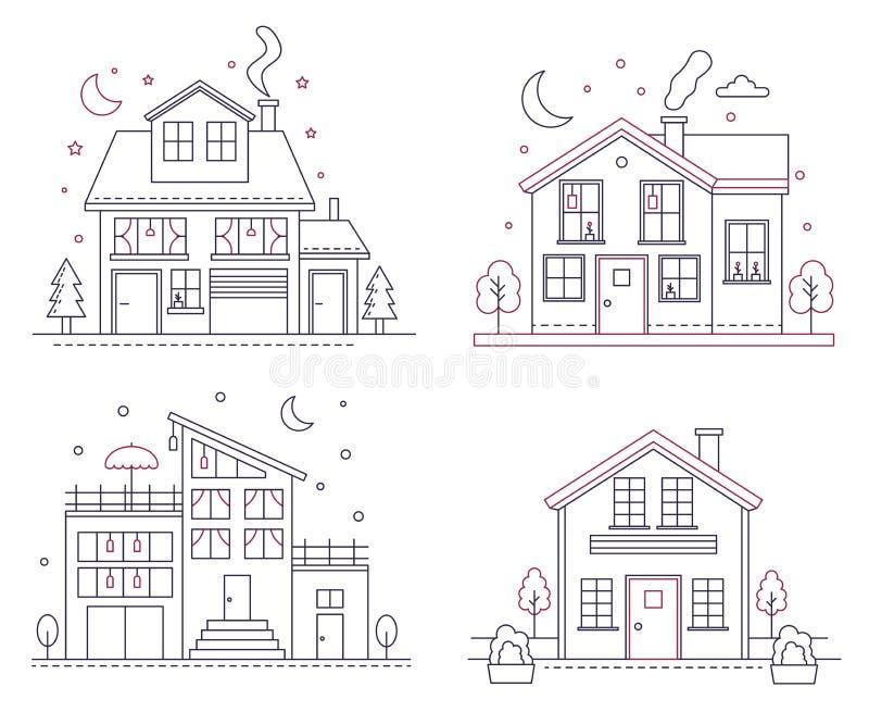 De vector dunne Amerikaanse huizen in de voorsteden van het lijnpictogram Klassieke architectuur burgerlijke de bouwillustraties  vector illustratie