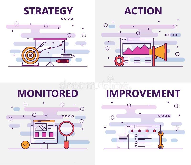 De vector dunne banners van het het actieplanconcept van het lijn vlakke ontwerp vector illustratie