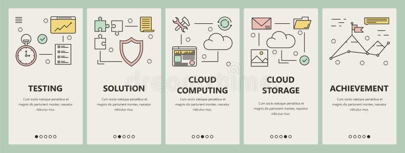 De vector dunne de wolk van het lijn vlakke ontwerp verticale banners van het gegevensverwerkingsconcept stock illustratie
