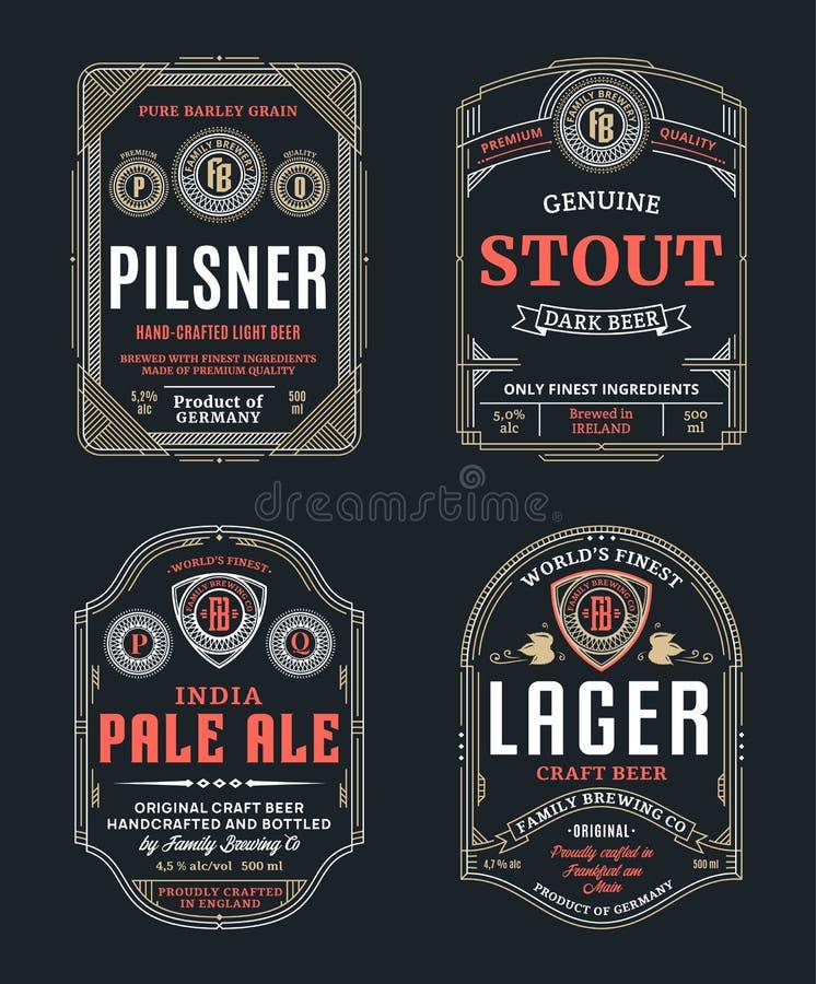 De vector dunne etiketten van het lijn uitstekende bier royalty-vrije illustratie