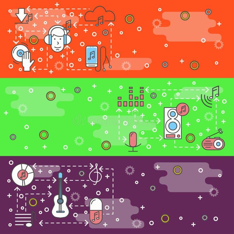 De vector dunne van het de muziekweb van de lijnkunst reeks van het de bannermalplaatje royalty-vrije illustratie