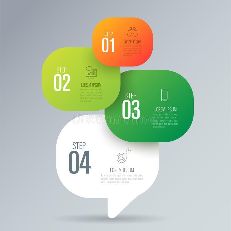 De vector en van het Bedrijfs infographicsontwerp pictogrammen met 4 opties stock illustratie