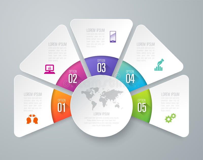 De vector en van het Bedrijfs infographicsontwerp pictogrammen met 5 opties stock illustratie