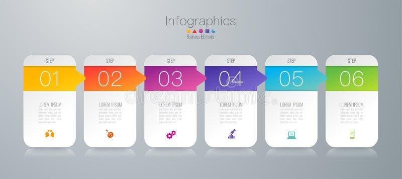 De vector en van het Bedrijfs infographicsontwerp pictogrammen met 6 opties royalty-vrije illustratie