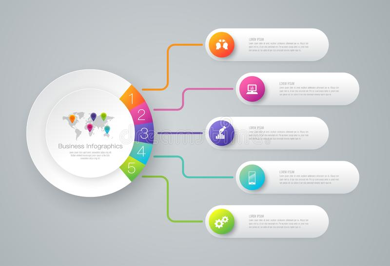 De vector en van het Bedrijfs infographicsontwerp pictogrammen met 5 opties
