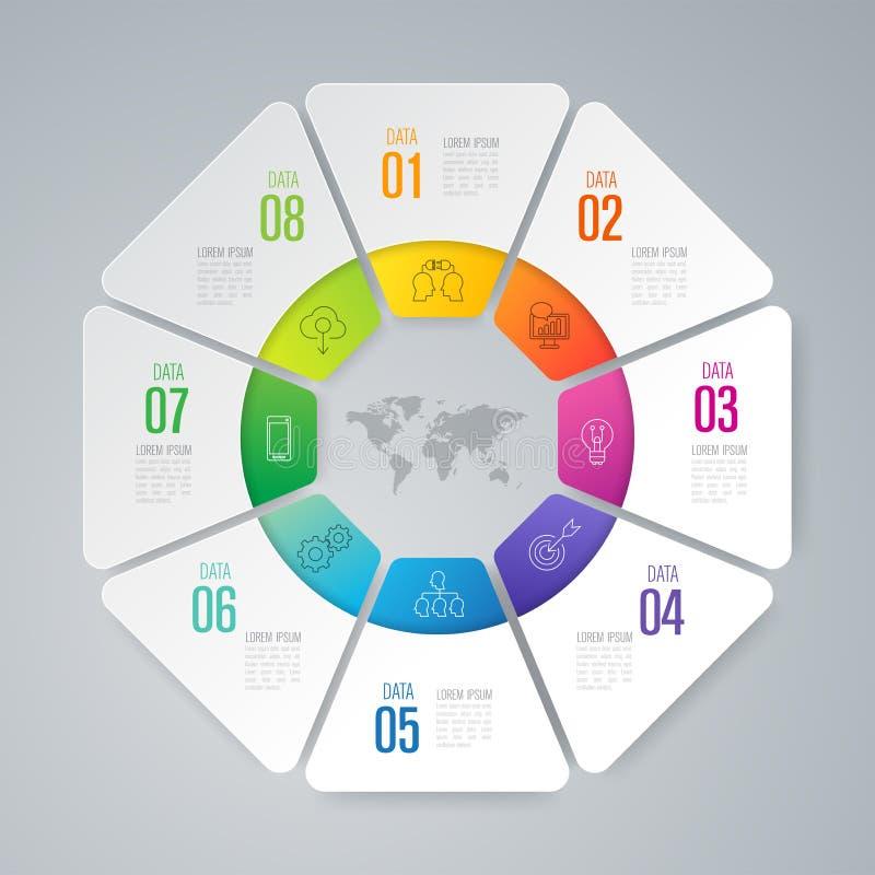 De vector en van het Bedrijfs infographicsontwerp pictogrammen met 8 opties vector illustratie