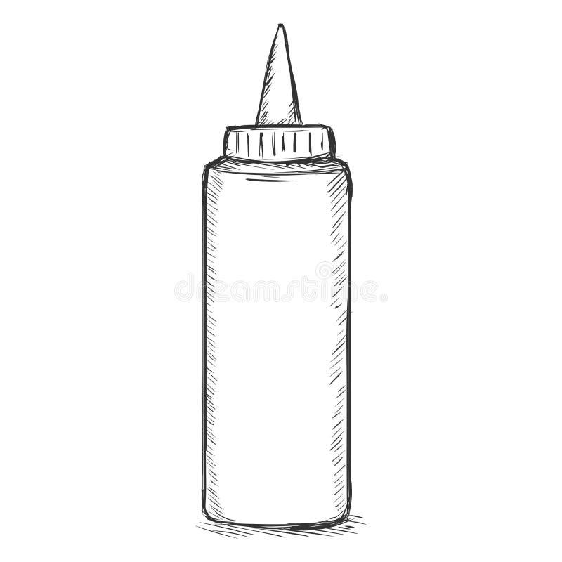De vector Enige Plastic Fles van het Schets Snelle Voedsel royalty-vrije illustratie
