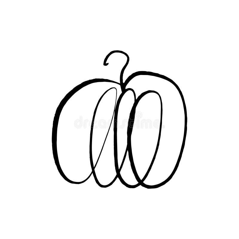De vector enige schets van de pompoenlijn, hand getrokken illustratie royalty-vrije illustratie
