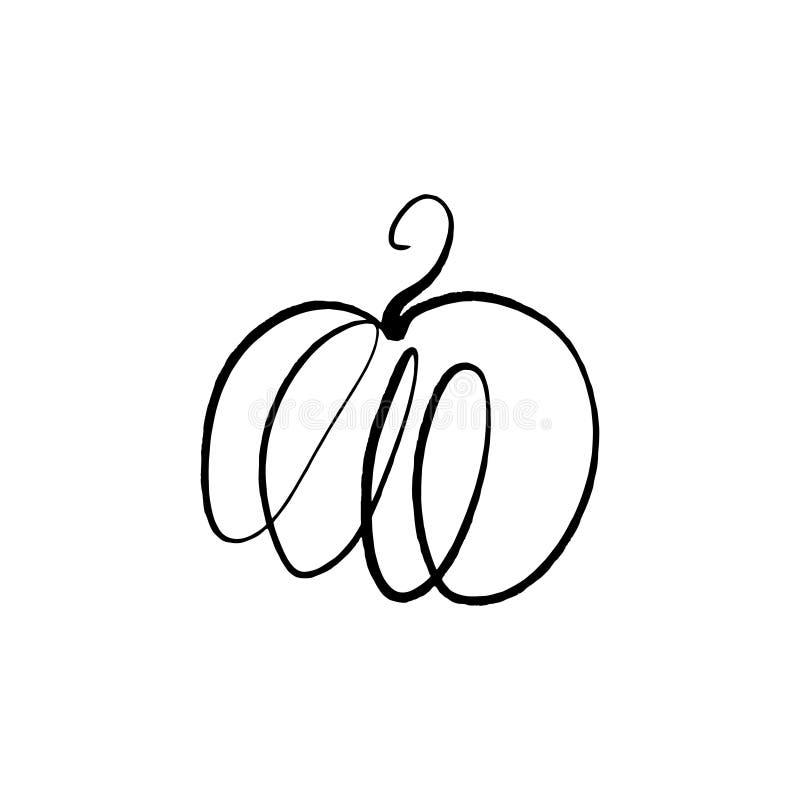 De vector enige schets van de pompoenlijn, hand getrokken illustratie vector illustratie