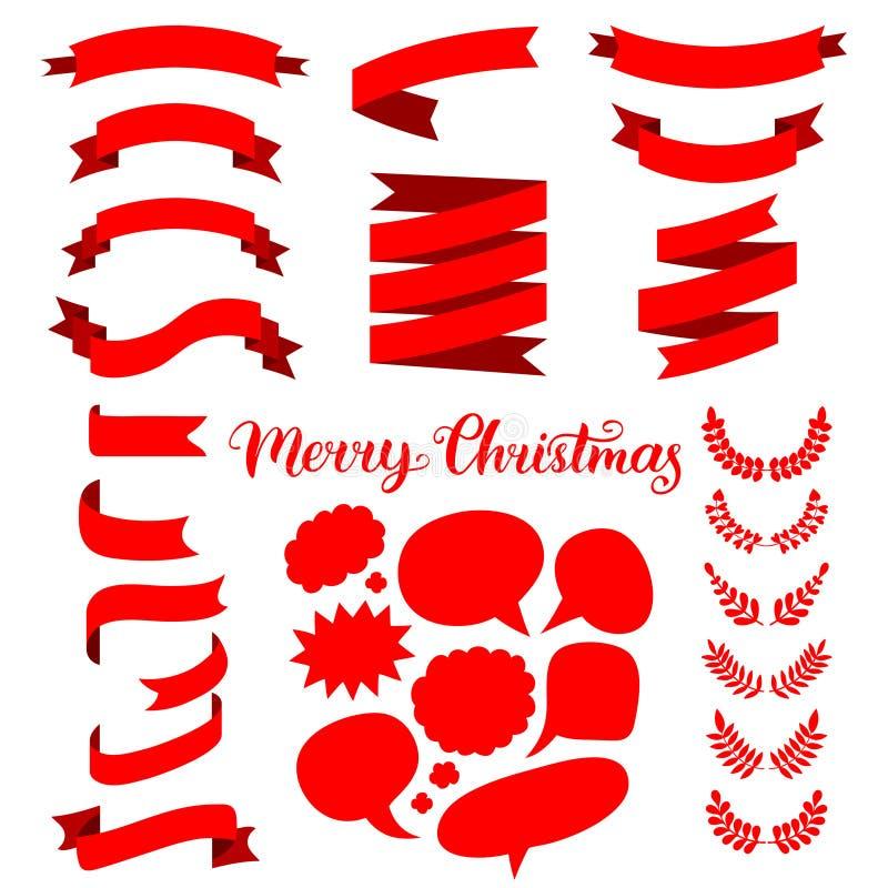 De vector feestelijke reeks rode linten, toespraak borrelt en omhult met het Vrolijke Kerstmis van letters voorzien vector illustratie