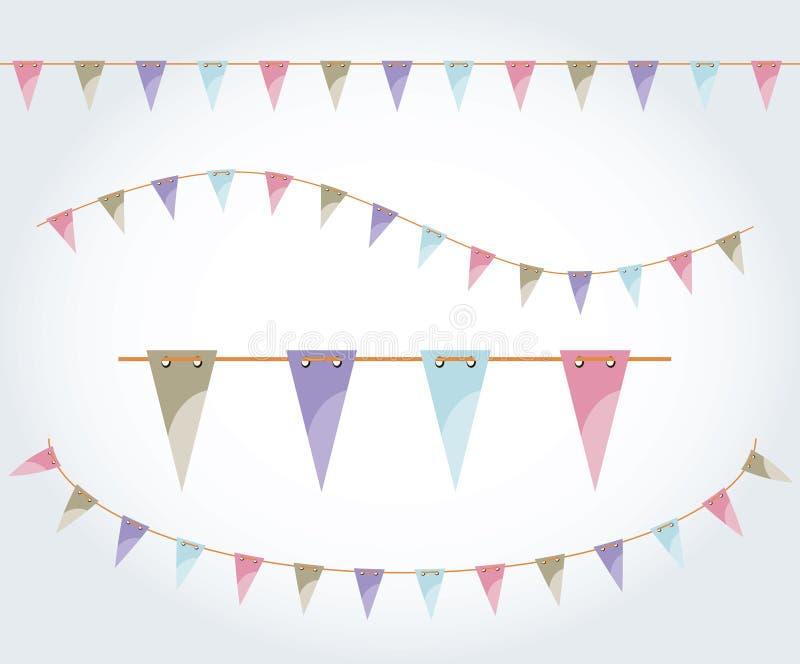 De vector geïllustreerde reeks van de vlagslinger Driehoeksvlaggen op de kabel De decoratie van de pastelkleurpartij De decoratie vector illustratie