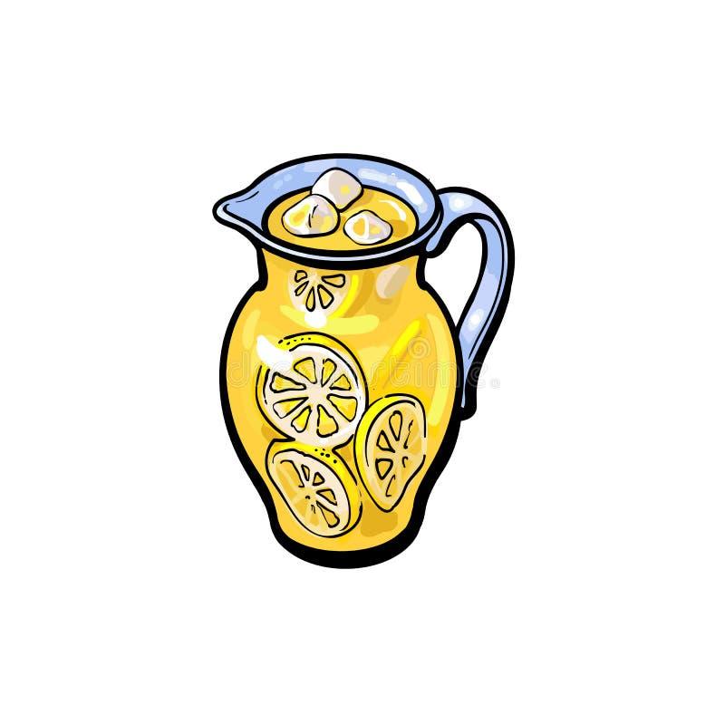 De vector geïsoleerde kruik van het de limonadeglas van het schetsbeeldverhaal vector illustratie