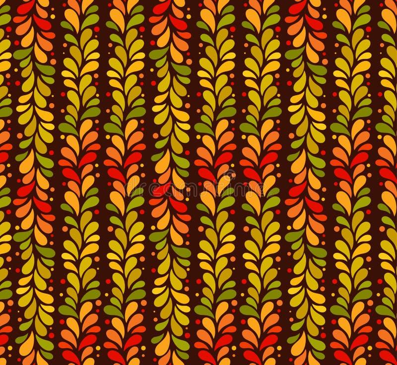De vector geïsoleerde naadloze herfst kleurde verticale lijn van bladerenachtergrond September, oktober, het eenvoudige patroon v stock illustratie