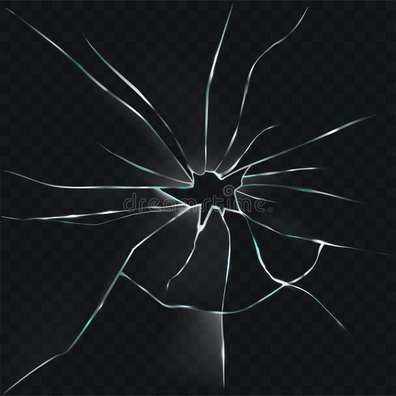 De vector gebarsten illustratie van gebroken, barstte glas met een gat vector illustratie