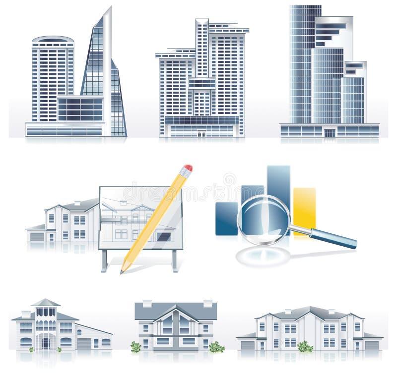 De vector gedetailleerde reeks van het architectuurpictogram vector illustratie
