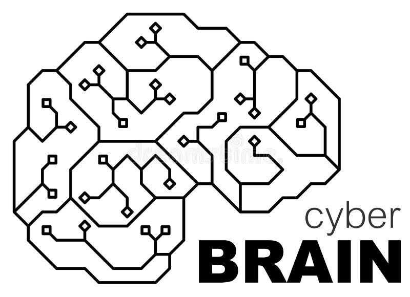 De vector gedrukte menselijke hersenen van de kringsraad Conceptenillustratie van cpu in het centrum van computersysteem Embleem/ stock fotografie