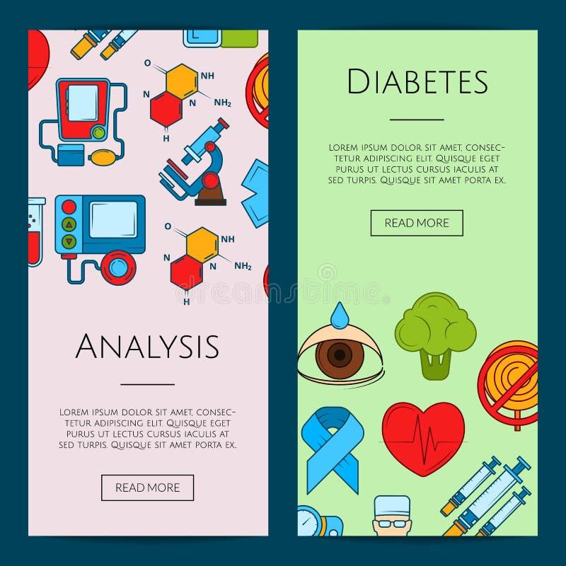 De vector gekleurde illustratie van de het Webbanner van diabetespictogrammen royalty-vrije illustratie