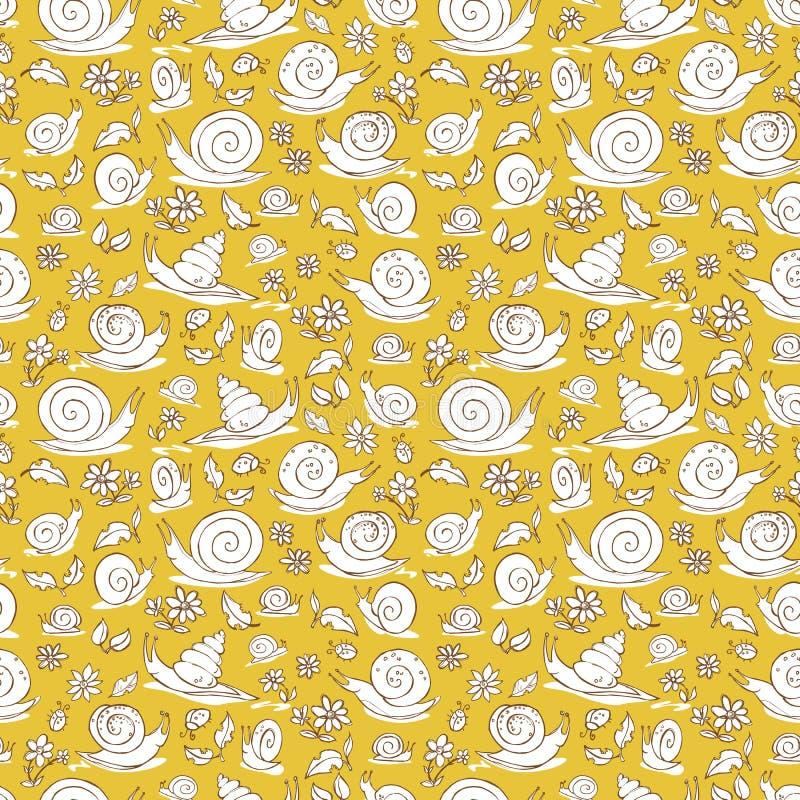 De vector gele hand getrokken slakken en de bloemen herhalen patroontextuur Geschikt voor giftomslag, textiel en behang royalty-vrije illustratie