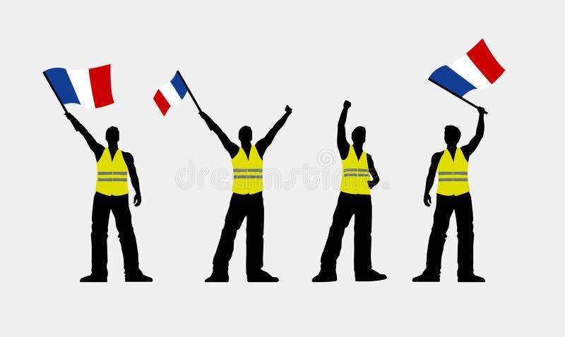 De vector gele illustratie van vestprotestors vector illustratie