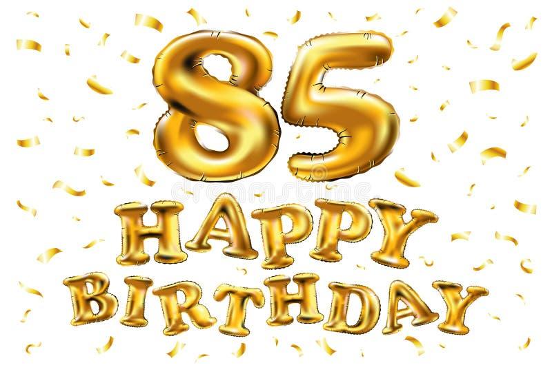 De vector gelukkige gouden ballons van de verjaardags 85ste viering en de gouden confetti schitteren 3d Illustratieontwerp voor u vector illustratie
