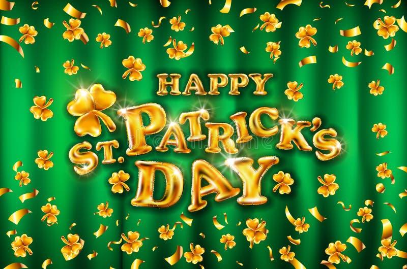 De vector Gelukkige St Patrick ` s Dag op groene gordijn achtergrondvierings gouden ballons en gouden confettien schittert 3D ill stock illustratie