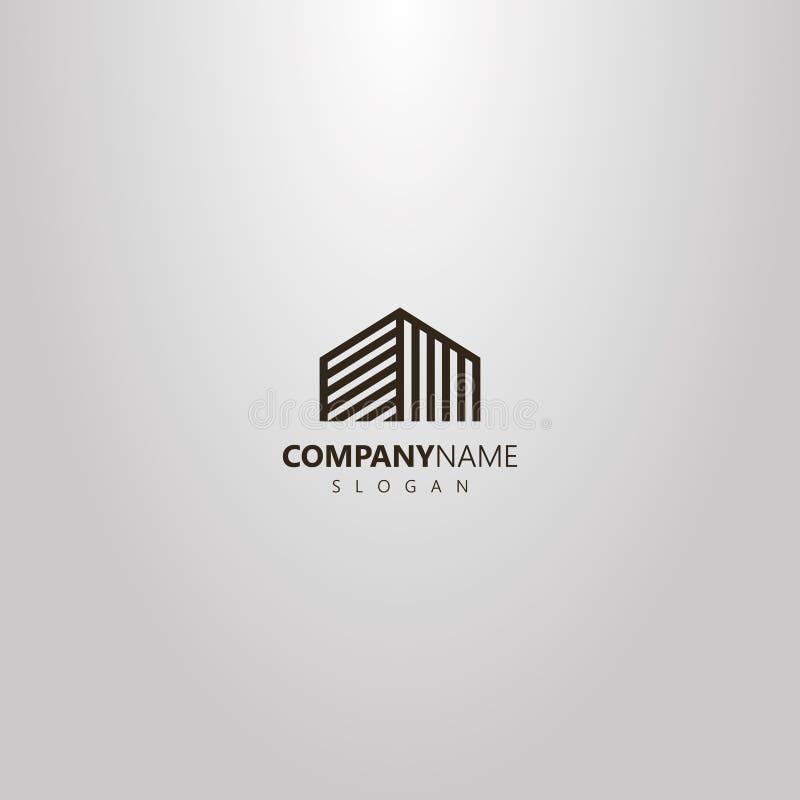 De vector geometrische abstracte bovenkant van het het overzichtsembleem van de lijnkunst van high-rise de bouw of ander huis royalty-vrije illustratie