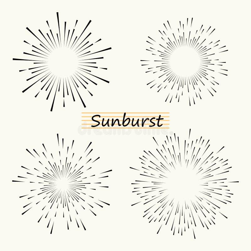 De vector geometrische radiale lijnzonnestraal, de stralen van de zon of de sterren glanzen, flits Vuurwerk retro, uitstekende st royalty-vrije illustratie