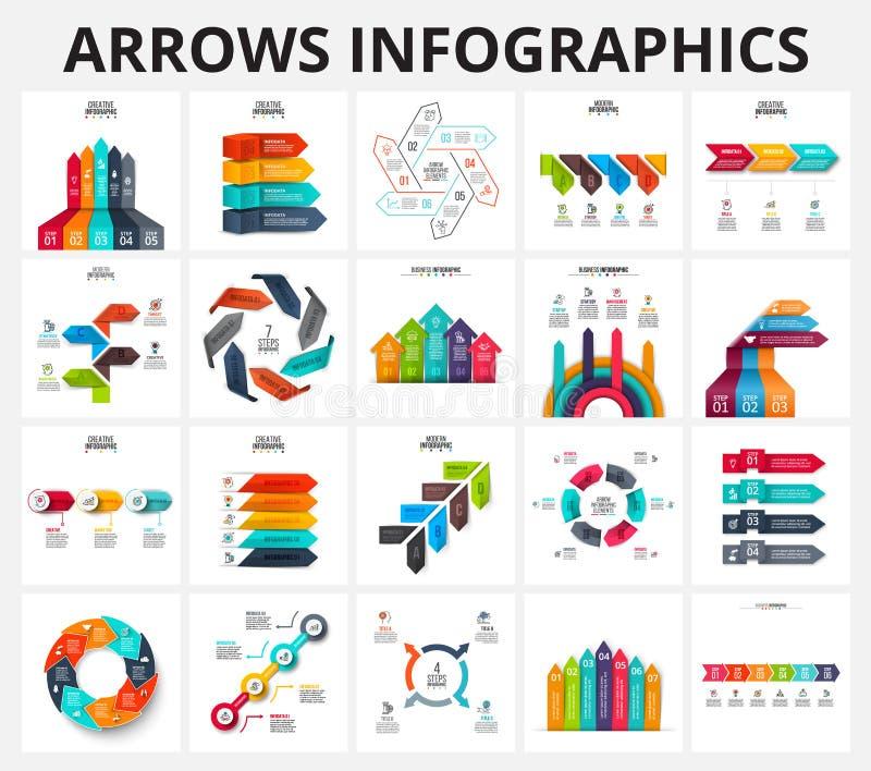 De vector geplaatste elementen van pijleninfographics stock illustratie