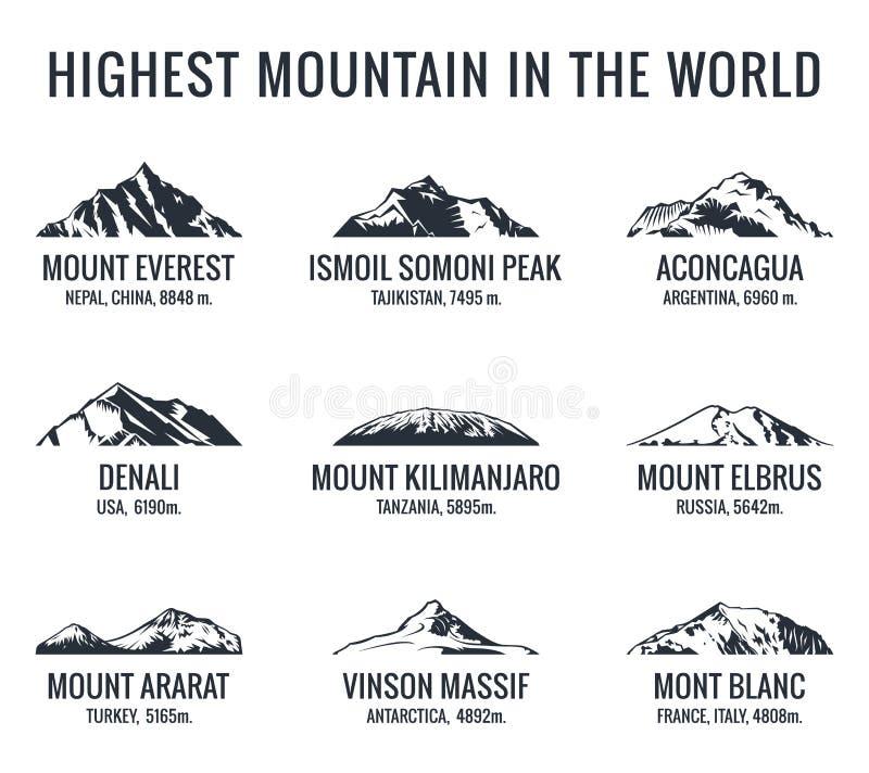 De vector geplaatste emblemen van de bergtoerist Affichesavonturen in openlucht vector illustratie