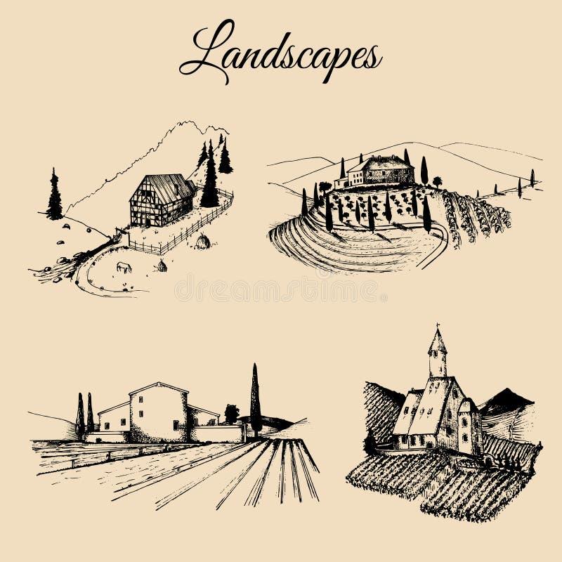 De vector geplaatste illustraties van landbouwbedrijflandschappen Schetsen van villa, wijngaard, abdij, landbouwhoeve in bergen,  royalty-vrije illustratie