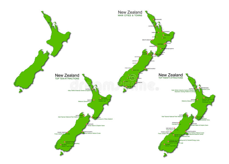 De Vector Geplaatste Kaarten van het Toerisme van Nieuw Zeeland stock illustratie