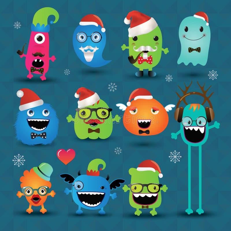 De vector Geplaatste Monsters van Kerstmisfreaky Hipster vector illustratie
