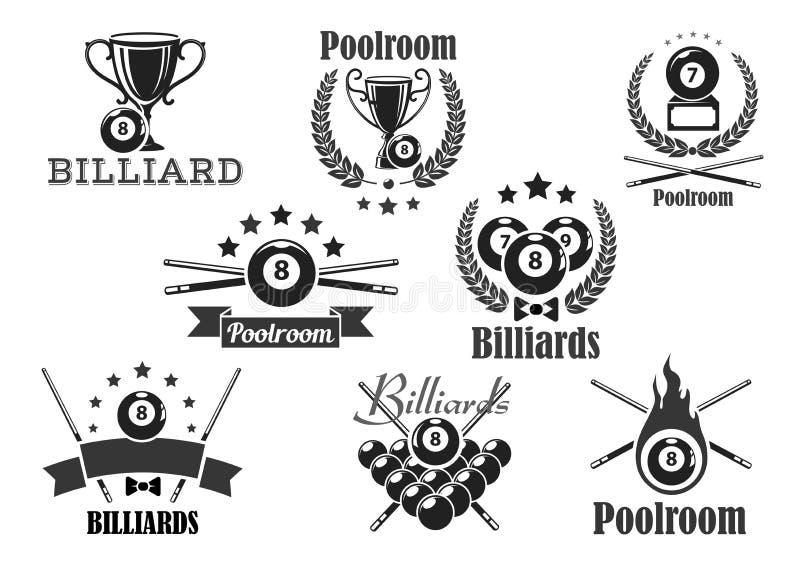 De vector geplaatste pictogrammen of de emblemen van de biljartwedstrijd royalty-vrije illustratie