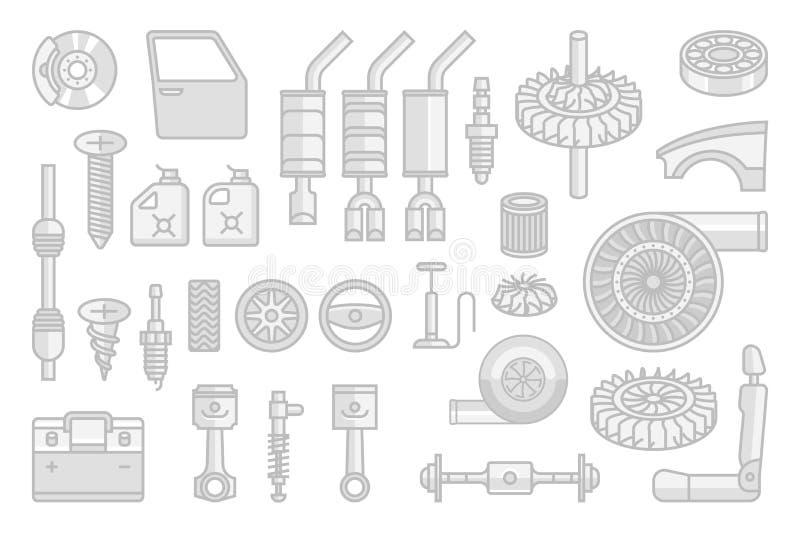 De vector geplaatste pictogrammen van autodelen royalty-vrije illustratie
