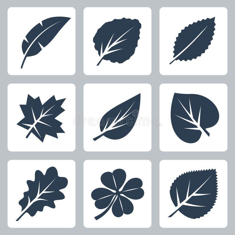 De vector geplaatste pictogrammen van boombladeren stock illustratie