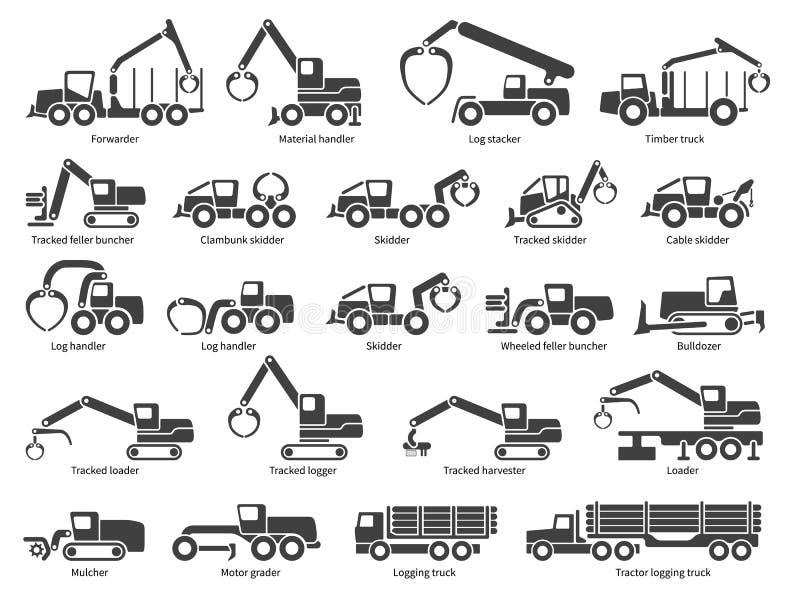 De vector geplaatste pictogrammen van bosbouwmachines royalty-vrije illustratie