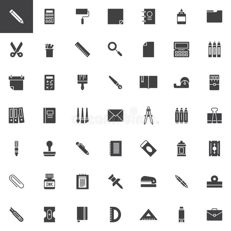 De vector geplaatste pictogrammen van de bureaukantoorbehoeften royalty-vrije illustratie