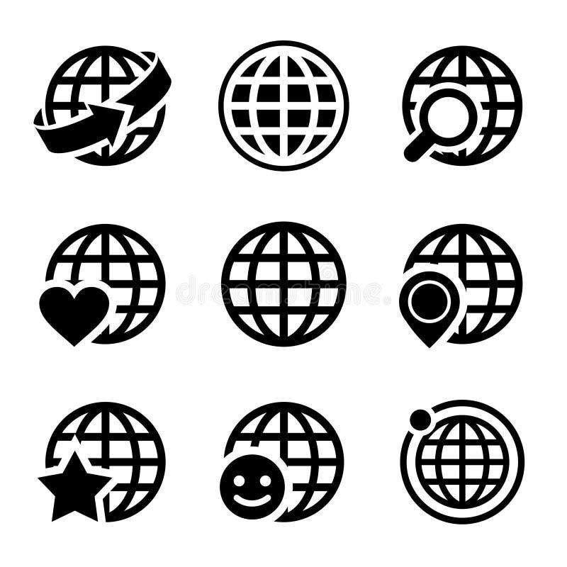 De vector geplaatste pictogrammen van de bolaarde vector illustratie