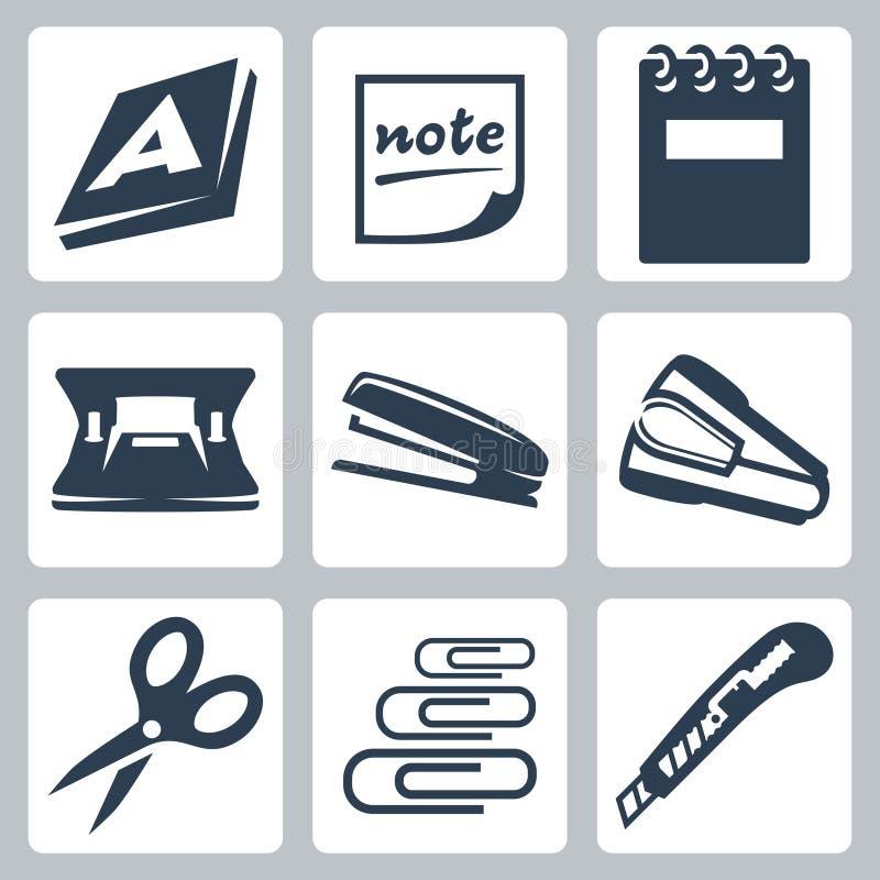 De vector geplaatste pictogrammen van de bureaukantoorbehoeften vector illustratie