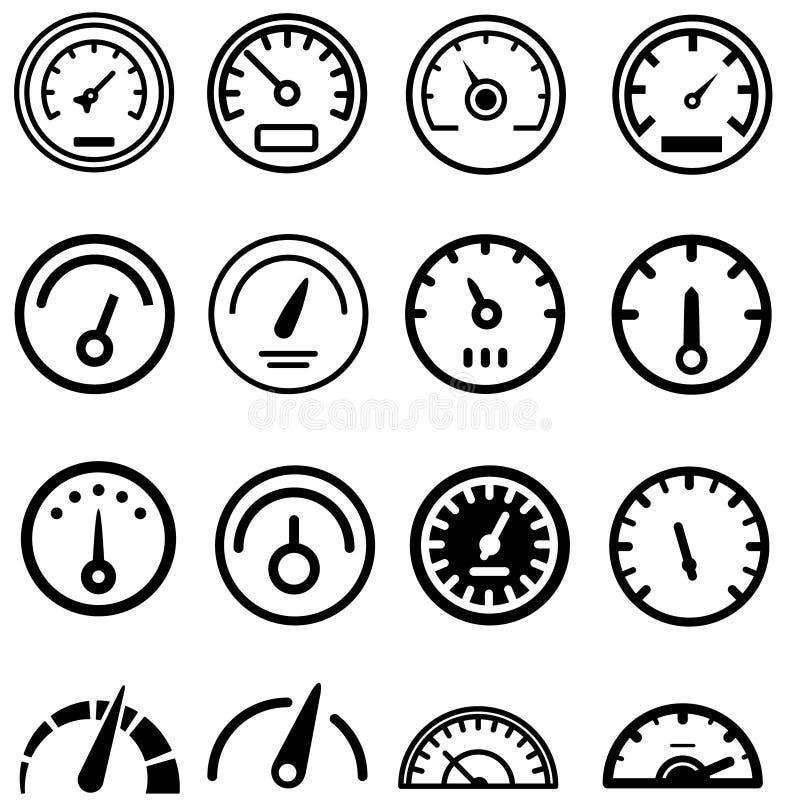 De vector geplaatste pictogrammen van de energiemeter Snelheidsmeterpictogram Van de de controlebrandstof van de manometertachome vector illustratie