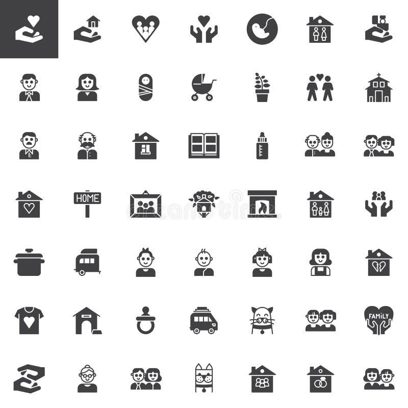De vector geplaatste pictogrammen van familieverwanten vector illustratie
