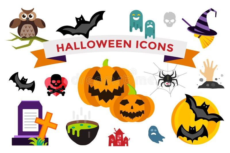 De vector geplaatste Pictogrammen van Halloween stock illustratie