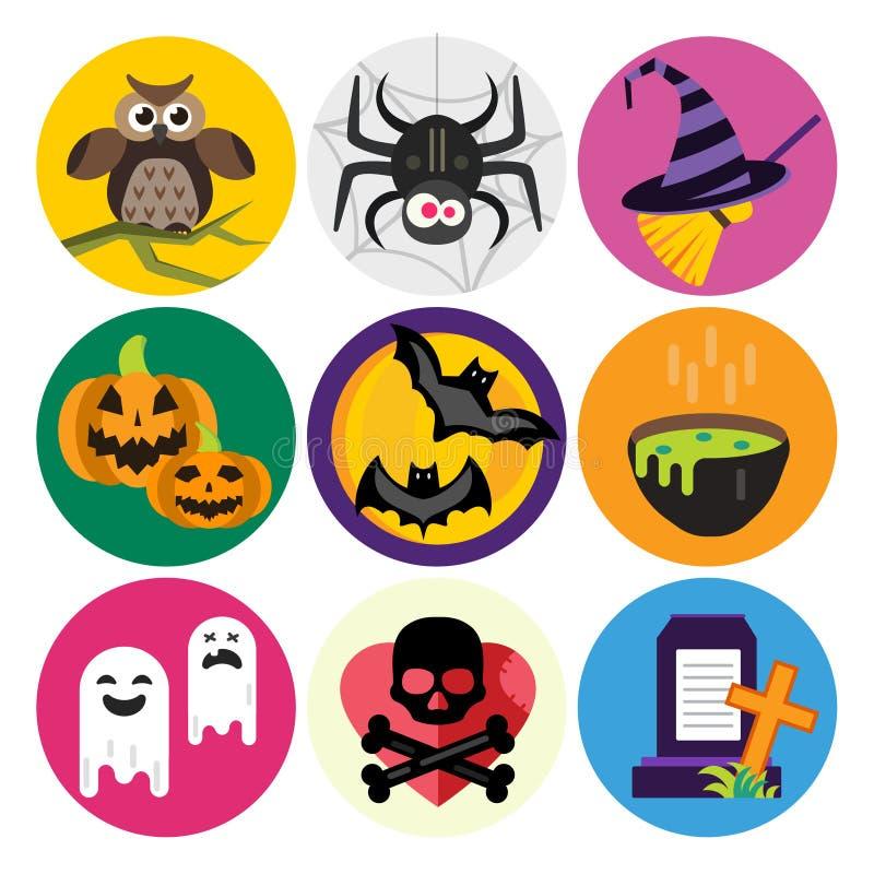De vector geplaatste Pictogrammen van Halloween vector illustratie