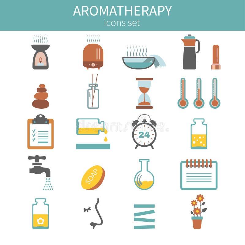 De Vector geplaatste Pictogrammen van het Aromatherapythema vector illustratie