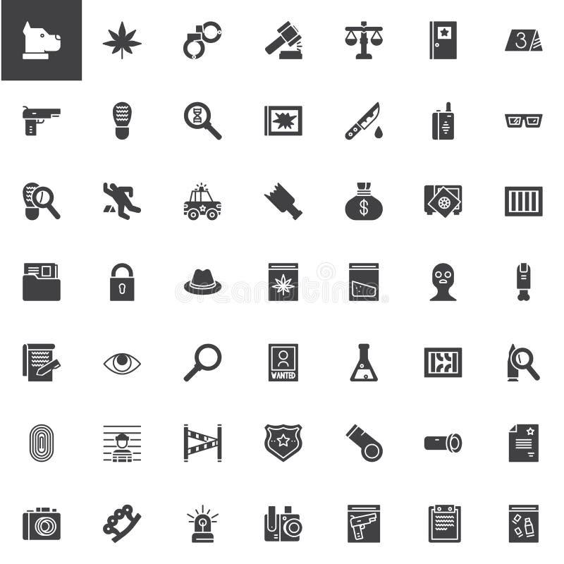 De vector geplaatste pictogrammen van het misdaadonderzoek stock illustratie