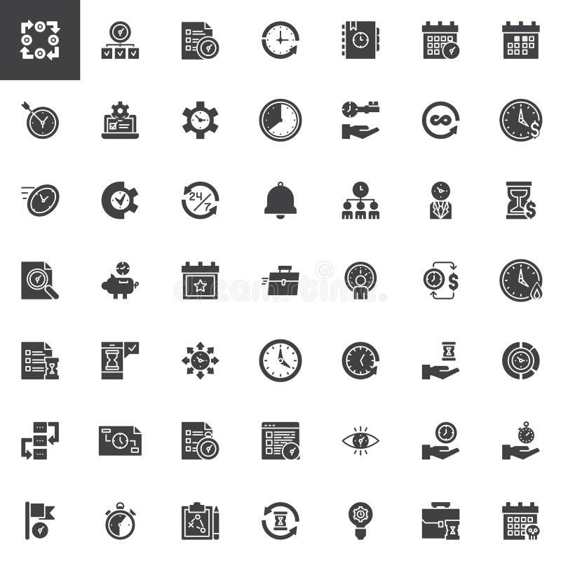 De vector geplaatste pictogrammen van het tijdbeheer stock illustratie